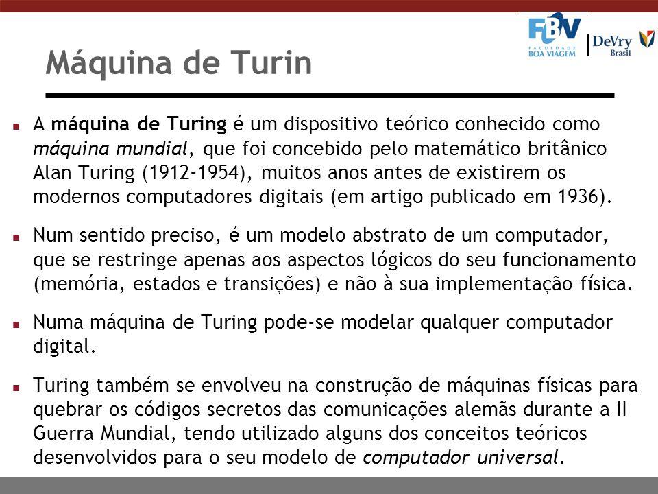 Máquina de Turin n A máquina de Turing é um dispositivo teórico conhecido como máquina mundial, que foi concebido pelo matemático britânico Alan Turing (1912-1954), muitos anos antes de existirem os modernos computadores digitais (em artigo publicado em 1936).