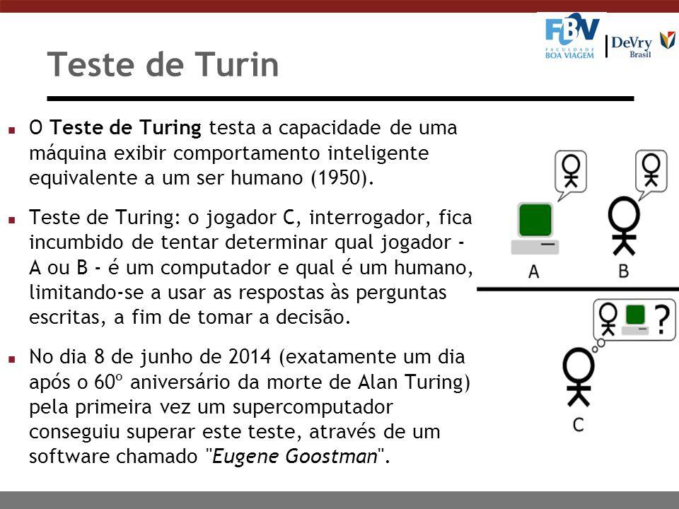 Teste de Turin n O Teste de Turing testa a capacidade de uma máquina exibir comportamento inteligente equivalente a um ser humano (1950).