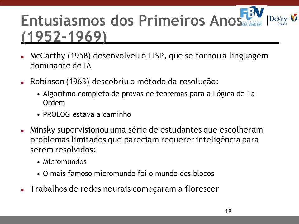 19 Entusiasmos dos Primeiros Anos (1952-1969) n McCarthy (1958) desenvolveu o LISP, que se tornou a linguagem dominante de IA n Robinson (1963) descobriu o método da resolução: Algoritmo completo de provas de teoremas para a Lógica de 1a Ordem PROLOG estava a caminho n Minsky supervisionou uma série de estudantes que escolheram problemas limitados que pareciam requerer inteligência para serem resolvidos: Micromundos O mais famoso micromundo foi o mundo dos blocos n Trabalhos de redes neurais começaram a florescer