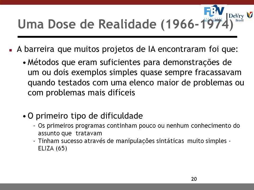 20 Uma Dose de Realidade (1966-1974) n A barreira que muitos projetos de IA encontraram foi que: Métodos que eram suficientes para demonstrações de um ou dois exemplos simples quase sempre fracassavam quando testados com uma elenco maior de problemas ou com problemas mais difíceis O primeiro tipo de dificuldade -Os primeiros programas continham pouco ou nenhum conhecimento do assunto que tratavam -Tinham sucesso através de manipulações sintáticas muito simples - ELIZA (65)