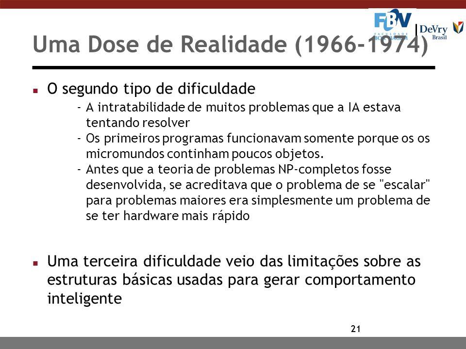 21 Uma Dose de Realidade (1966-1974) n O segundo tipo de dificuldade -A intratabilidade de muitos problemas que a IA estava tentando resolver -Os primeiros programas funcionavam somente porque os os micromundos continham poucos objetos.