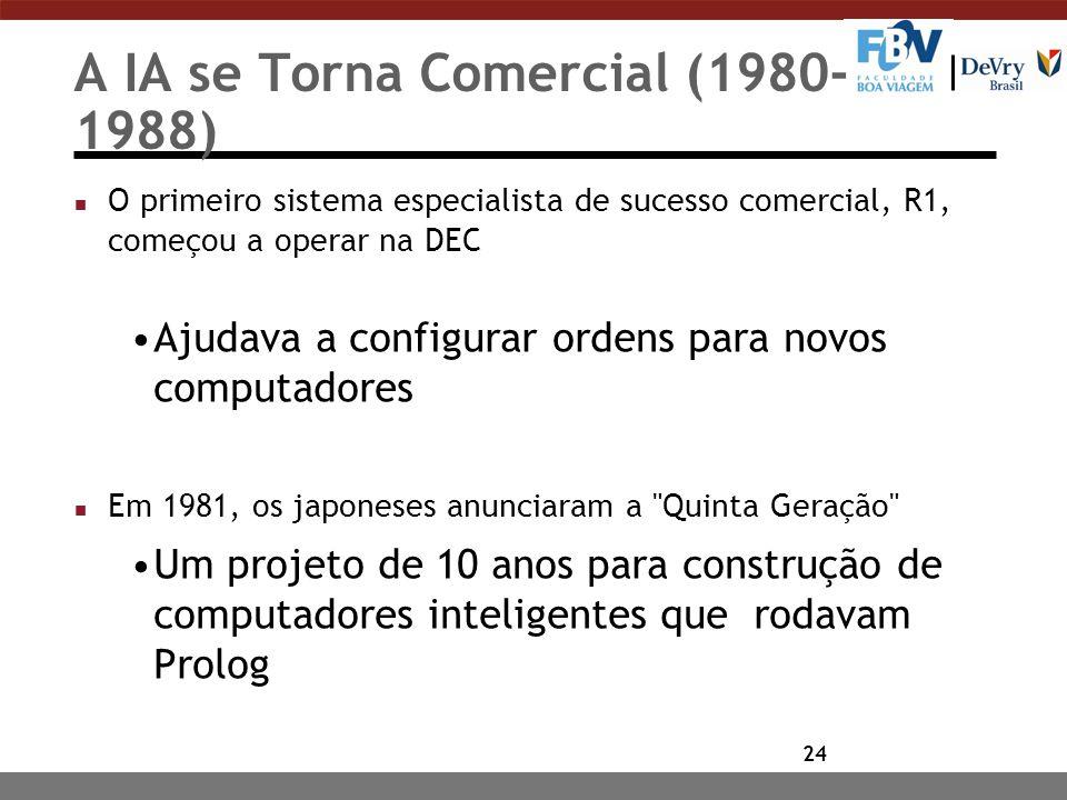 24 A IA se Torna Comercial (1980- 1988) n O primeiro sistema especialista de sucesso comercial, R1, começou a operar na DEC Ajudava a configurar ordens para novos computadores n Em 1981, os japoneses anunciaram a Quinta Geração Um projeto de 10 anos para construção de computadores inteligentes que rodavam Prolog