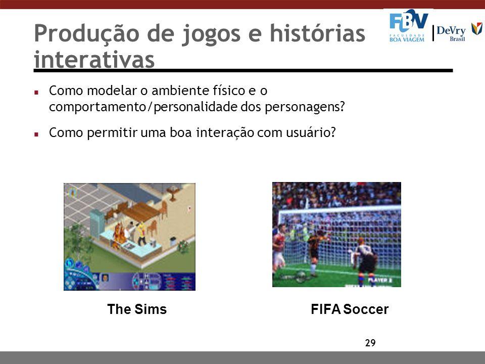 29 FIFA SoccerThe Sims Produção de jogos e histórias interativas n Como modelar o ambiente físico e o comportamento/personalidade dos personagens.