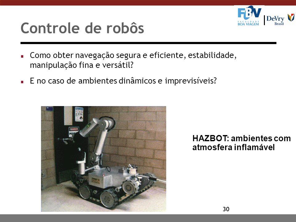 30 HAZBOT: ambientes com atmosfera inflamável Controle de robôs n Como obter navegação segura e eficiente, estabilidade, manipulação fina e versátil.