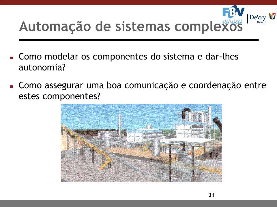 31 Automação de sistemas complexos n Como modelar os componentes do sistema e dar-lhes autonomia.