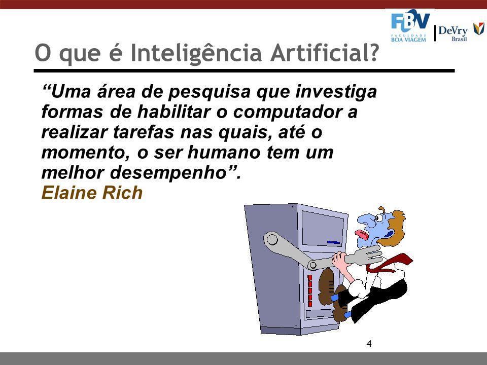 5 Inteligência Artificial Tão logo algum problema de IA é resolvido ele não é mais considerado um problema da área de IA... Chuck Thorpe Carnegie Mellon Universite - CMU, Robotics Institute, 2000
