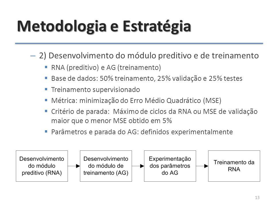 Metodologia e Estratégia – 2) Desenvolvimento do módulo preditivo e de treinamento  RNA (preditivo) e AG (treinamento)  Base de dados: 50% treinamento, 25% validação e 25% testes  Treinamento supervisionado  Métrica: minimização do Erro Médio Quadrático (MSE)  Critério de parada: Máximo de ciclos da RNA ou MSE de validação maior que o menor MSE obtido em 5%  Parâmetros e parada do AG: definidos experimentalmente 13