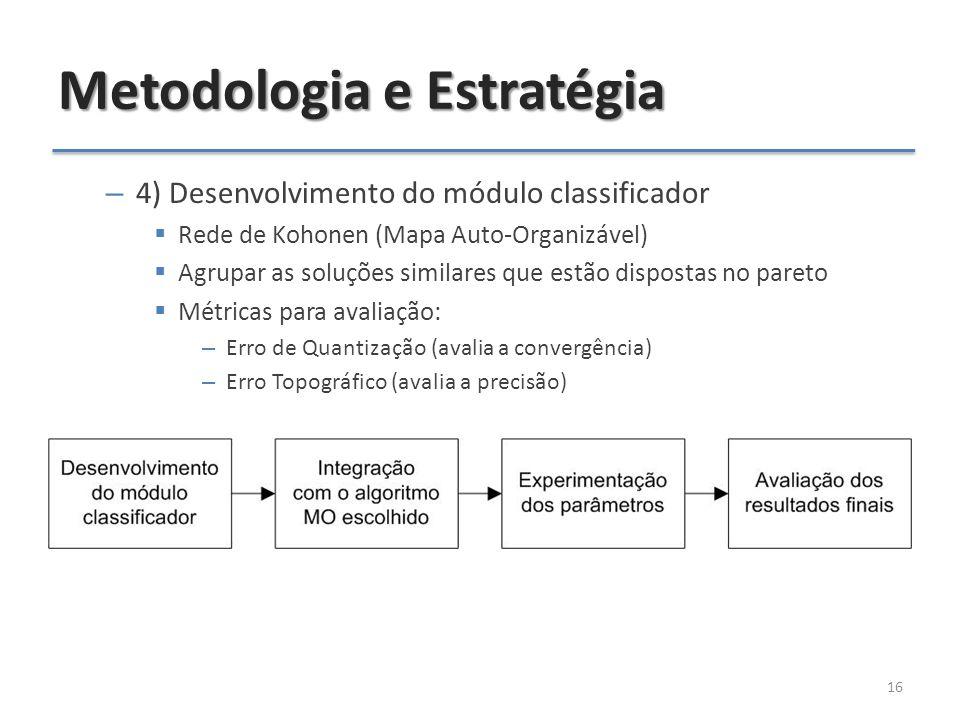 Metodologia e Estratégia – 4) Desenvolvimento do módulo classificador  Rede de Kohonen (Mapa Auto-Organizável)  Agrupar as soluções similares que estão dispostas no pareto  Métricas para avaliação: – Erro de Quantização (avalia a convergência) – Erro Topográfico (avalia a precisão) 16