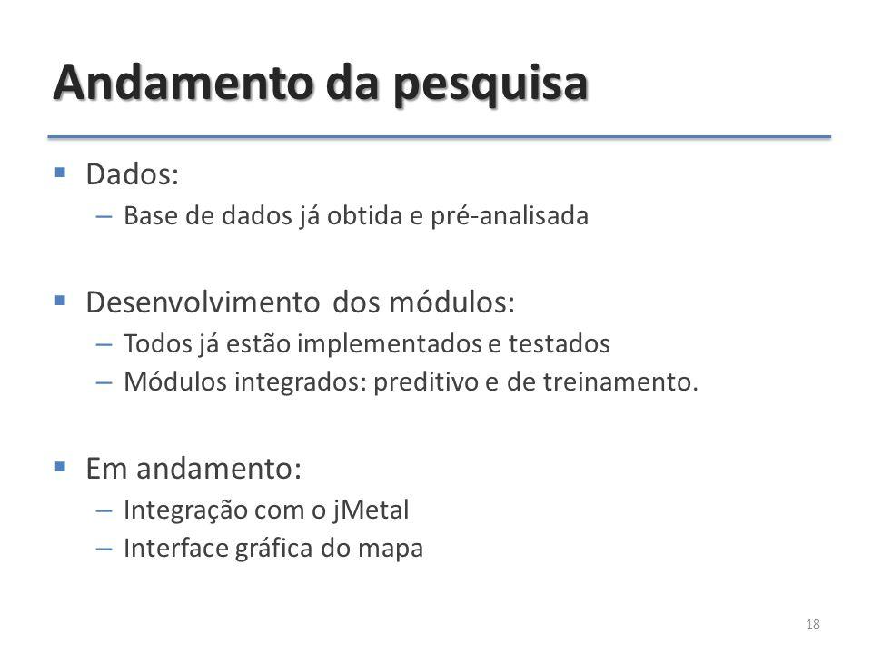 Andamento da pesquisa 18  Dados: – Base de dados já obtida e pré-analisada  Desenvolvimento dos módulos: – Todos já estão implementados e testados – Módulos integrados: preditivo e de treinamento.