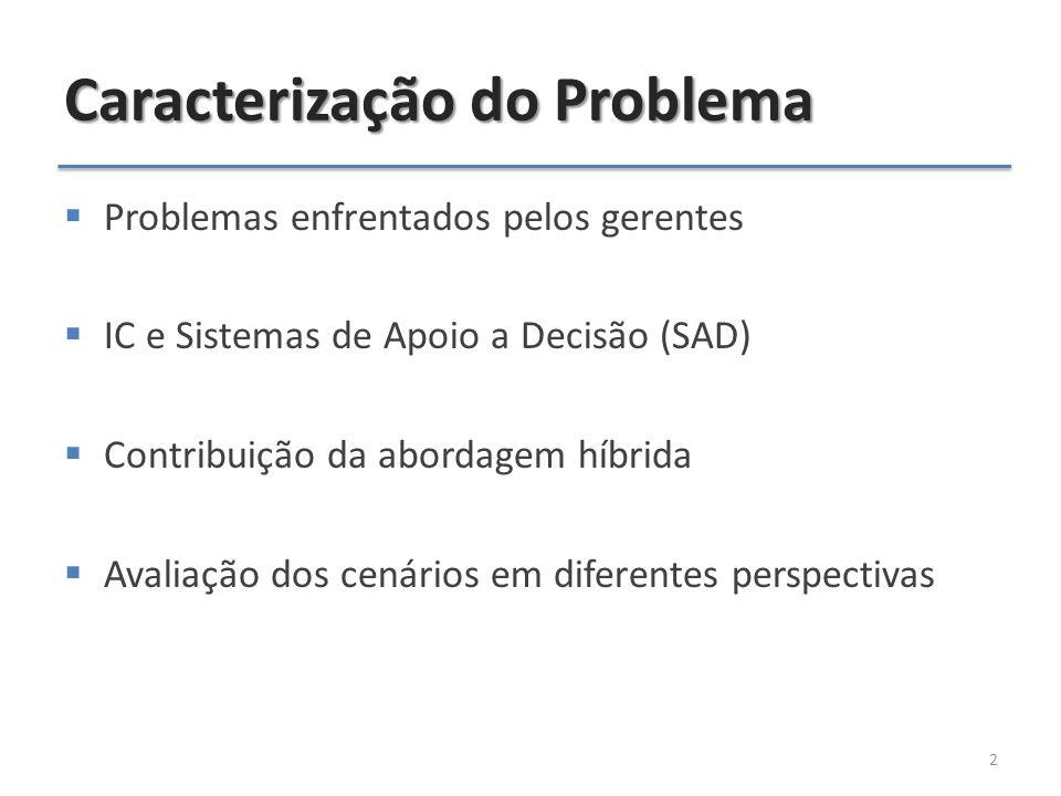 Caracterização do Problema  Problemas enfrentados pelos gerentes  IC e Sistemas de Apoio a Decisão (SAD)  Contribuição da abordagem híbrida  Avaliação dos cenários em diferentes perspectivas 2