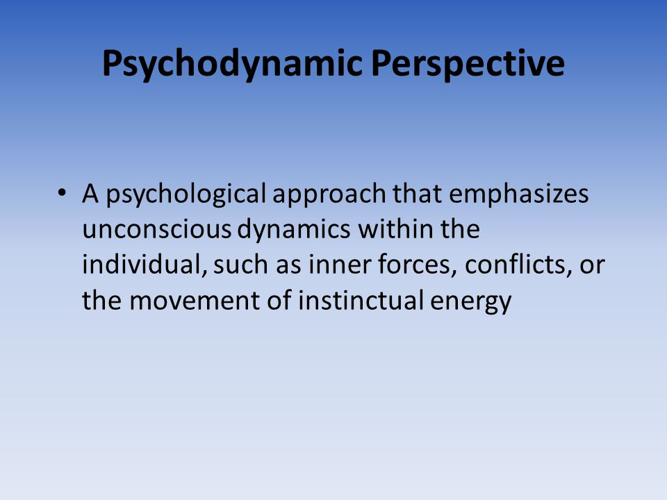 Psychodynamic Perspective A psychological approach that emphasizes unconscious dynamics within the individual, such as inner forces, conflicts, or the