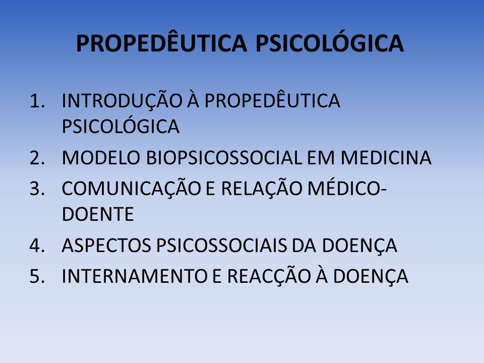 PROPEDÊUTICA PSICOLÓGICA 1.INTRODUÇÃO À PROPEDÊUTICA PSICOLÓGICA 2.MODELO BIOPSICOSSOCIAL EM MEDICINA 3.COMUNICAÇÃO E RELAÇÃO MÉDICO- DOENTE 4.ASPECTO
