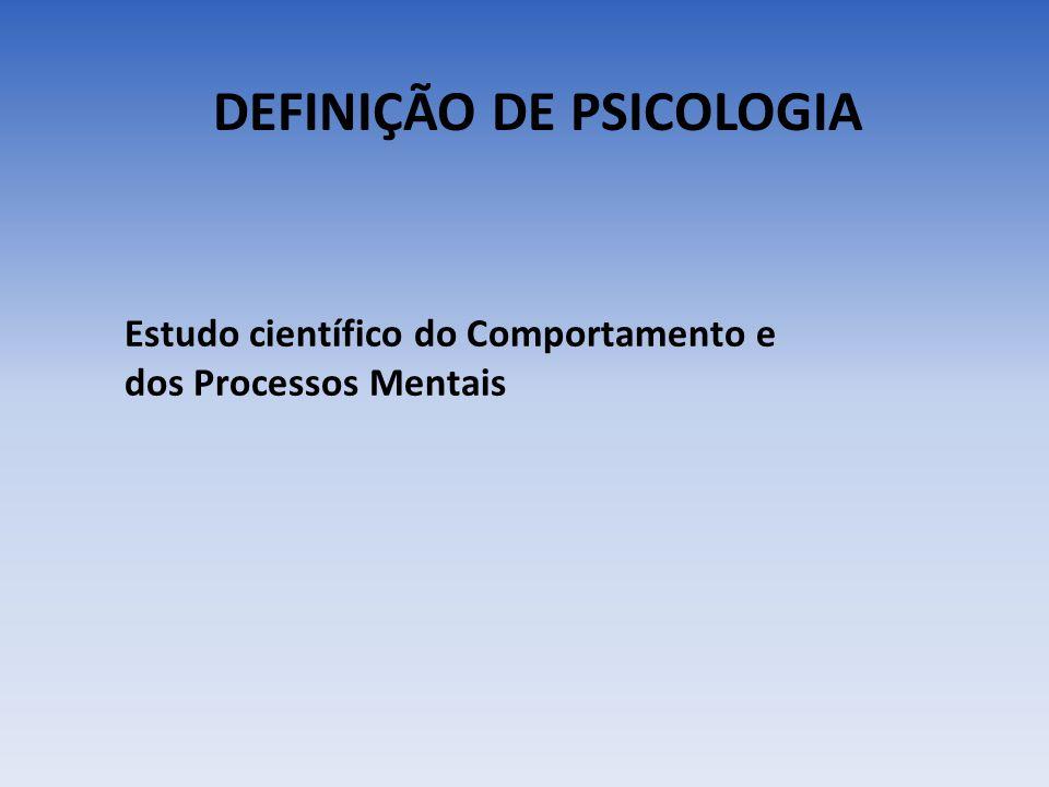DEFINIÇÃO DE PSICOLOGIA Estudo científico do Comportamento e dos Processos Mentais