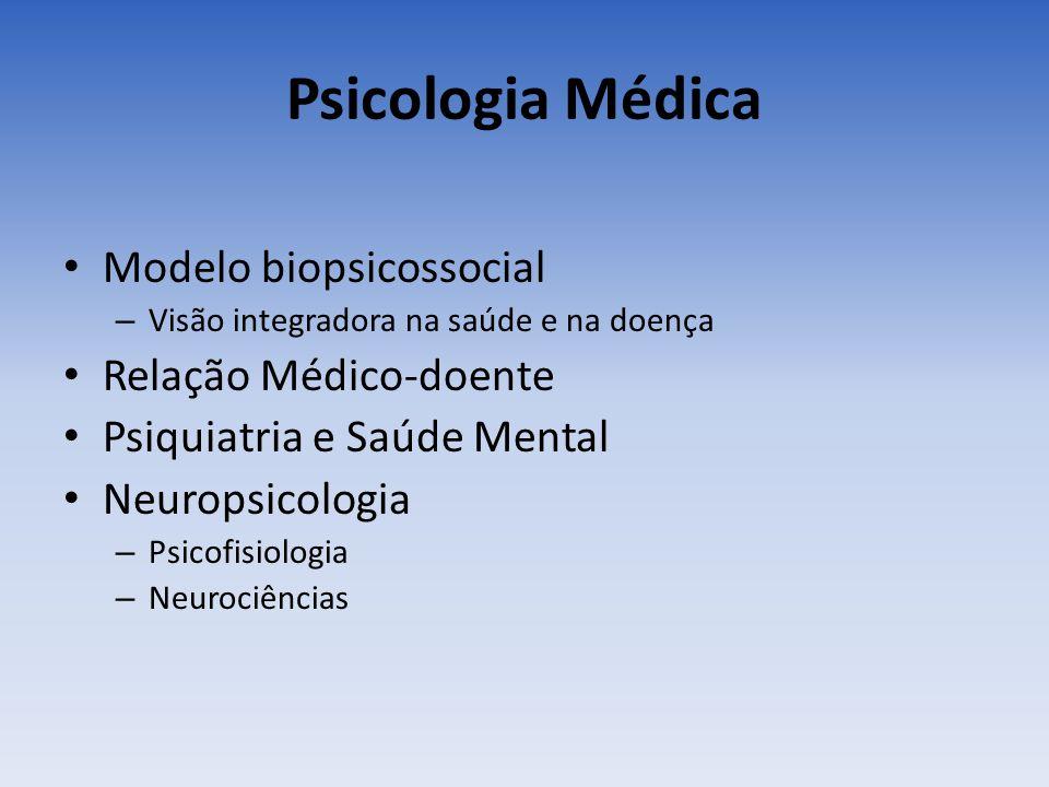 Psicologia Médica Modelo biopsicossocial – Visão integradora na saúde e na doença Relação Médico-doente Psiquiatria e Saúde Mental Neuropsicologia – P