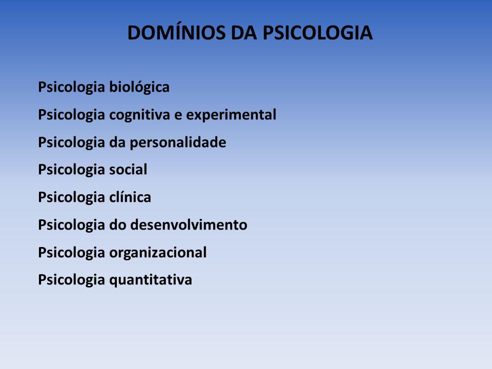 DOMÍNIOS DA PSICOLOGIA Psicologia biológica Psicologia cognitiva e experimental Psicologia da personalidade Psicologia social Psicologia clínica Psico