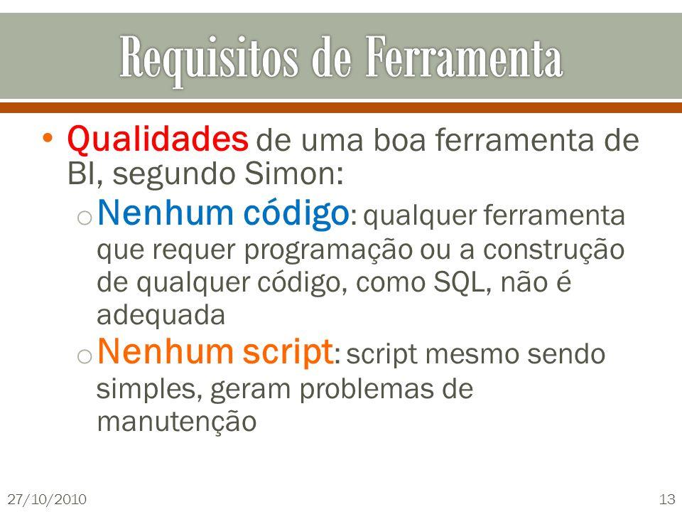 Qualidades de uma boa ferramenta de BI, segundo Simon: o Nenhum código : qualquer ferramenta que requer programação ou a construção de qualquer código, como SQL, não é adequada o Nenhum script : script mesmo sendo simples, geram problemas de manutenção 27/10/201013