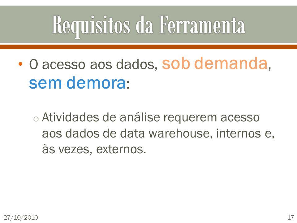 O acesso aos dados, sob demanda, sem demora : o Atividades de análise requerem acesso aos dados de data warehouse, internos e, às vezes, externos.