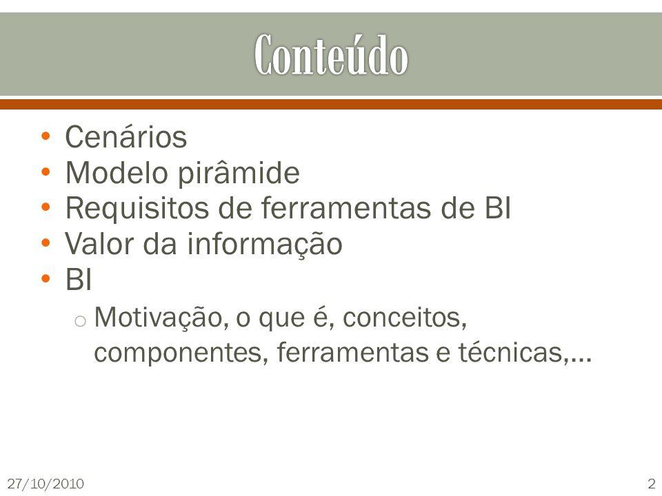 Cenários Modelo pirâmide Requisitos de ferramentas de BI Valor da informação BI o Motivação, o que é, conceitos, componentes, ferramentas e técnicas,...