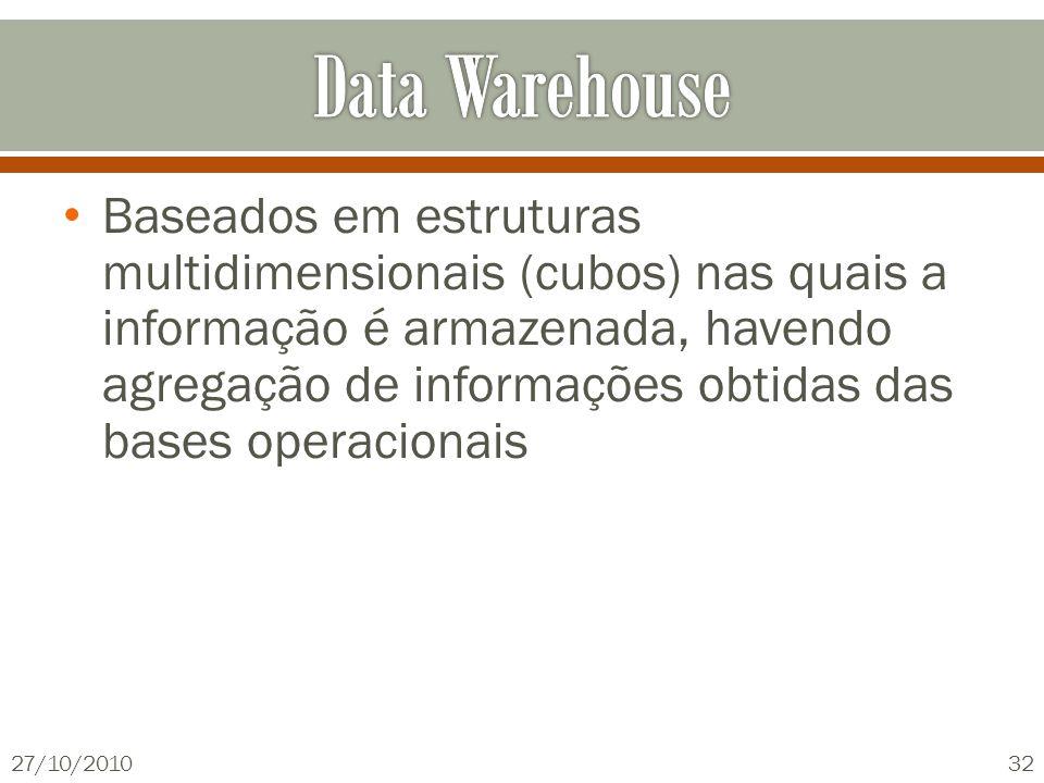 Baseados em estruturas multidimensionais (cubos) nas quais a informação é armazenada, havendo agregação de informações obtidas das bases operacionais 27/10/201032