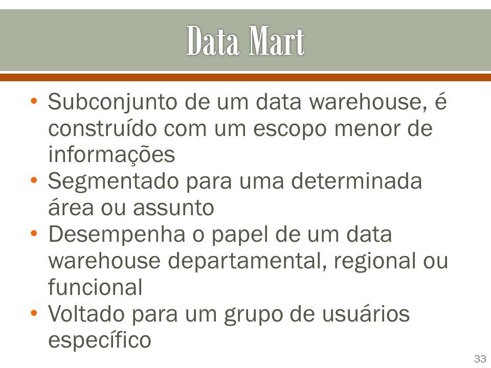 Subconjunto de um data warehouse, é construído com um escopo menor de informações Segmentado para uma determinada área ou assunto Desempenha o papel de um data warehouse departamental, regional ou funcional Voltado para um grupo de usuários específico 33