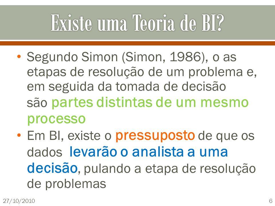 Segundo Simon (Simon, 1986), o as etapas de resolução de um problema e, em seguida da tomada de decisão são partes distintas de um mesmo processo Em BI, existe o pressuposto de que os dados levarão o analista a uma decisão, pulando a etapa de resolução de problemas 27/10/20106