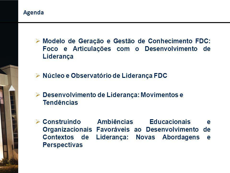 Observatório de Liderança FDC Monitorar de forma sistemática e compartilhar conhecimentos sobre questões, temas, estudos, pesquisas, conteúdos, metodologias e práticas associados à gestão de pessoas e à temática da liderança e seu desenvolvimento, em nível nacional e internacional