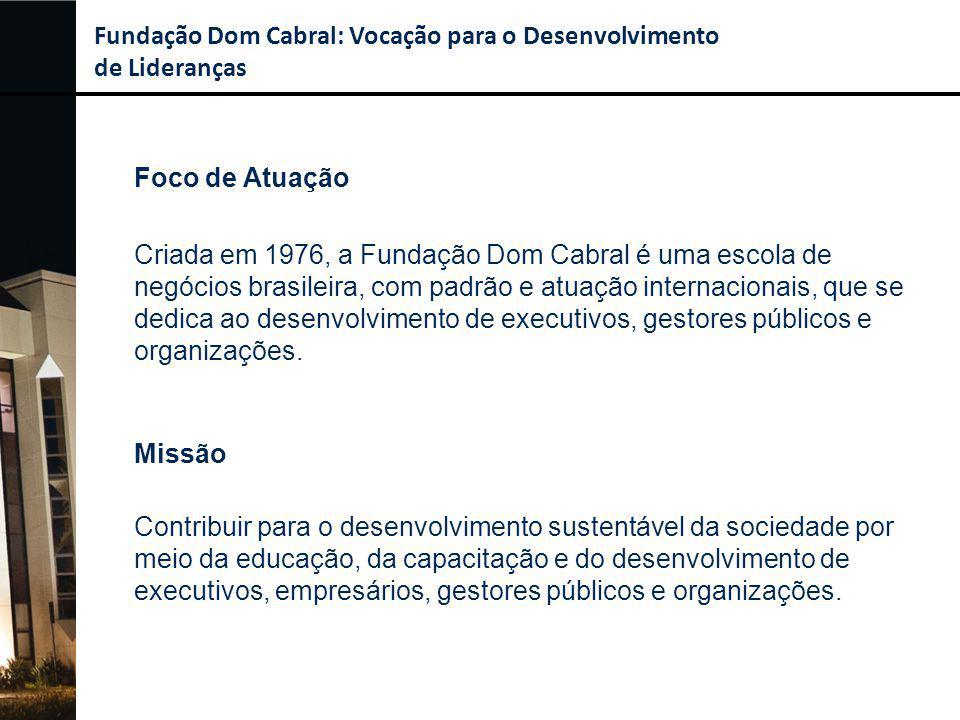 Foco de Atuação Criada em 1976, a Fundação Dom Cabral é uma escola de negócios brasileira, com padrão e atuação internacionais, que se dedica ao desen