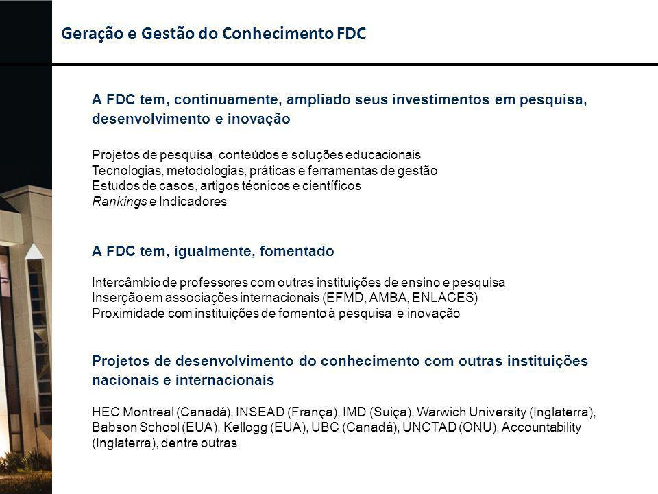 Geração e Gestão do Conhecimento FDC A FDC tem, continuamente, ampliado seus investimentos em pesquisa, desenvolvimento e inovação Projetos de pesquis