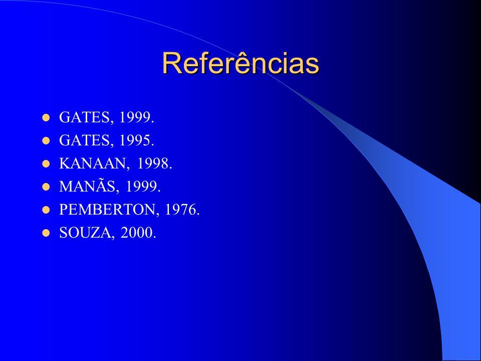 Referências GATES, 1999. GATES, 1995. KANAAN, 1998. MANÃS, 1999. PEMBERTON, 1976. SOUZA, 2000.