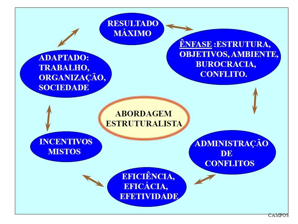 ABORDAGEM ESTRUTURALISTA ÊNFASE :ESTRUTURA, OBJETIVOS, AMBIENTE, BUROCRACIA, CONFLITO. ADMINISTRAÇÃO DE CONFLITOS EFICIÊNCIA, EFICÁCIA, EFETIVIDADE IN