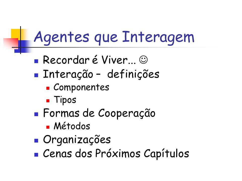 Tipos de Interação (II) Obstrução Objetivos Compatíveis e Habilidades Suficientes Recursos Insuficientes Agentes Atrapalham os outros.