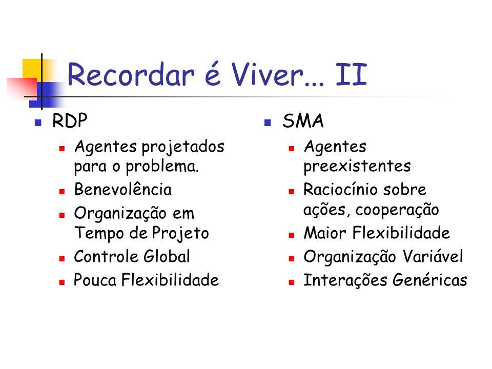 Assim...SMA... Realiza a decomposição das tarefas Tem conflitos...ou junta esforços É variável...