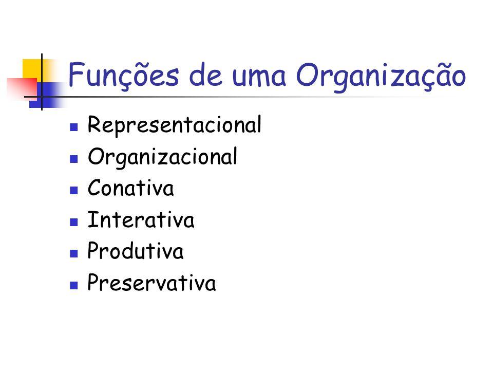 Funções de uma Organização Representacional Organizacional Conativa Interativa Produtiva Preservativa