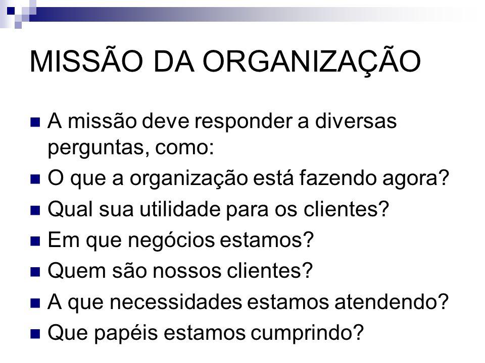 MISSÃO DA ORGANIZAÇÃO A missão deve responder a diversas perguntas, como: O que a organização está fazendo agora? Qual sua utilidade para os clientes?