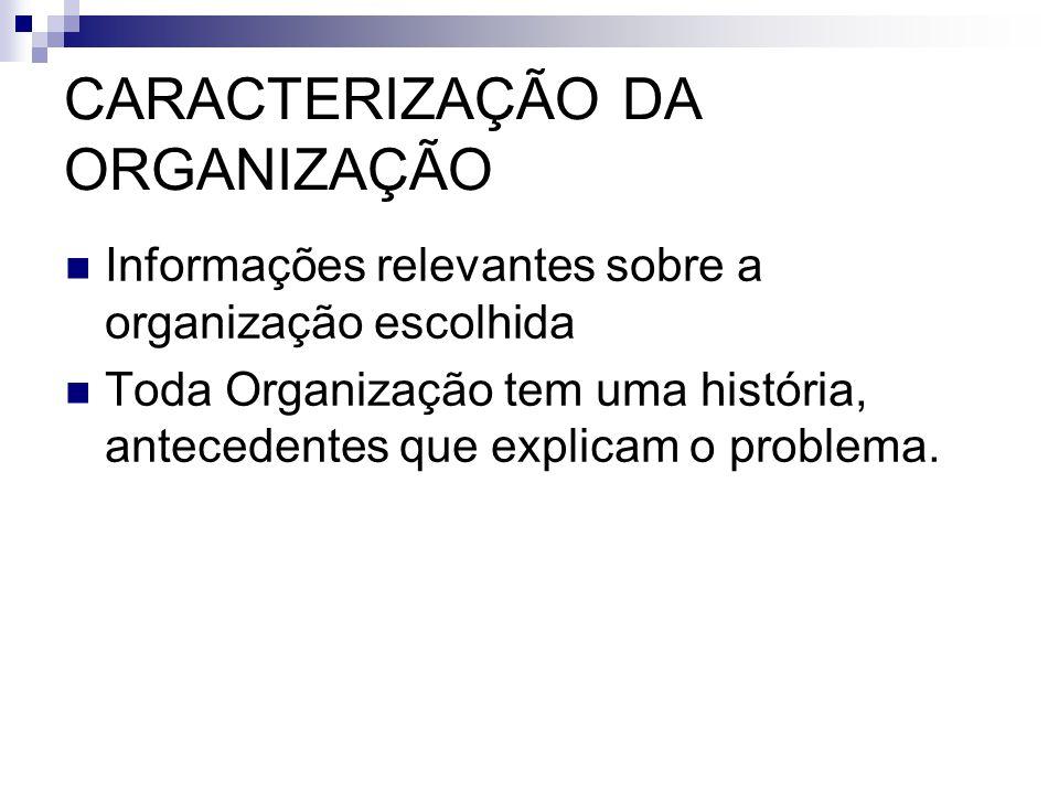 Informações relevantes sobre a organização escolhida Toda Organização tem uma história, antecedentes que explicam o problema.