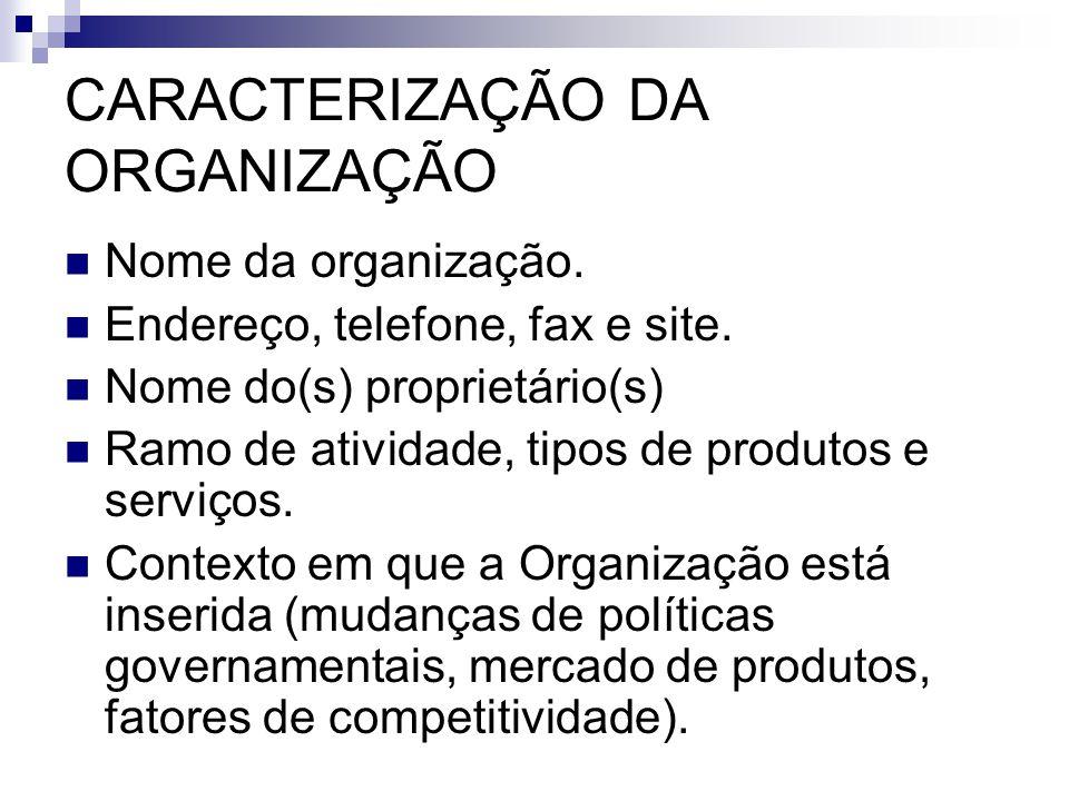 CARACTERIZAÇÃO DA ORGANIZAÇÃO Nome da organização. Endereço, telefone, fax e site. Nome do(s) proprietário(s) Ramo de atividade, tipos de produtos e s