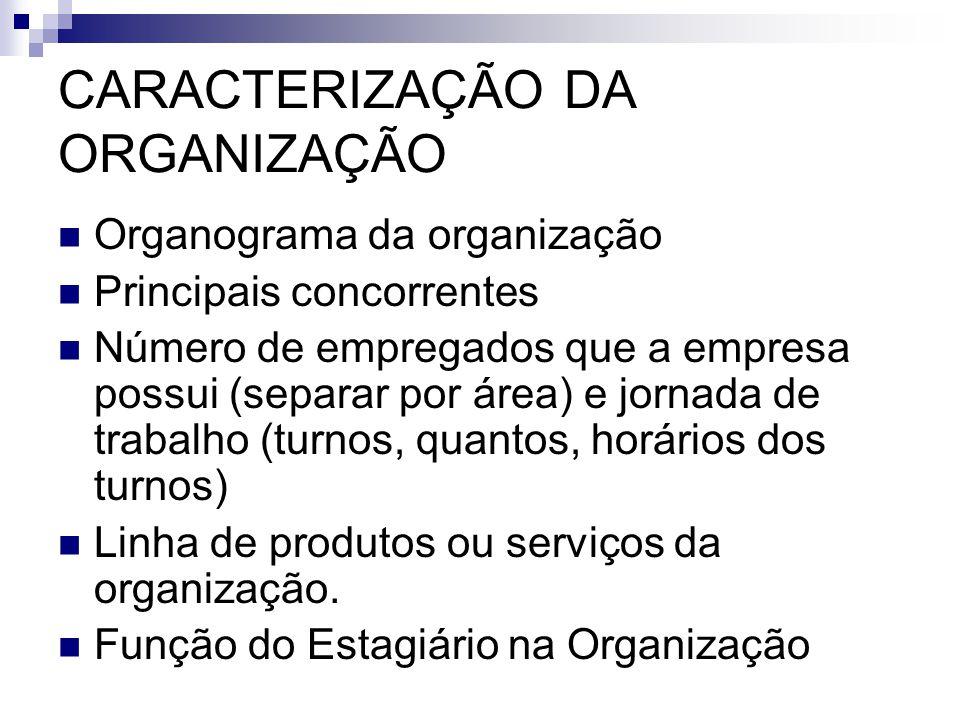 CARACTERIZAÇÃO DA ORGANIZAÇÃO Organograma da organização Principais concorrentes Número de empregados que a empresa possui (separar por área) e jornad