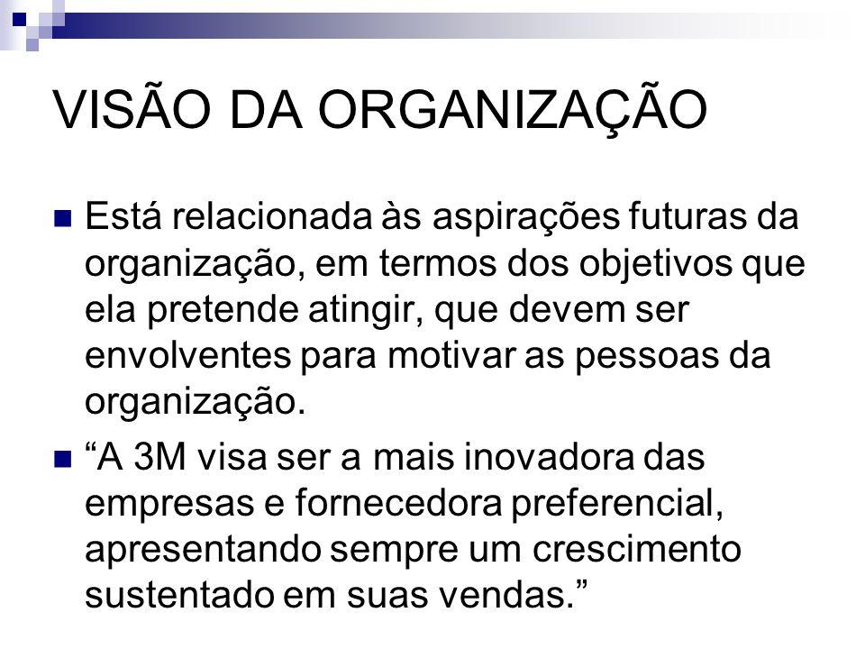 VISÃO DA ORGANIZAÇÃO Está relacionada às aspirações futuras da organização, em termos dos objetivos que ela pretende atingir, que devem ser envolvente