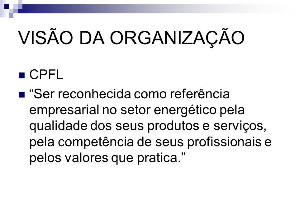 """VISÃO DA ORGANIZAÇÃO CPFL """"Ser reconhecida como referência empresarial no setor energético pela qualidade dos seus produtos e serviços, pela competênc"""