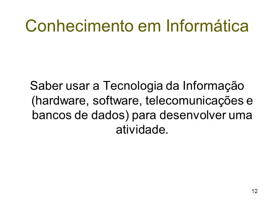 12 Conhecimento em Informática Saber usar a Tecnologia da Informação (hardware, software, telecomunicações e bancos de dados) para desenvolver uma ati