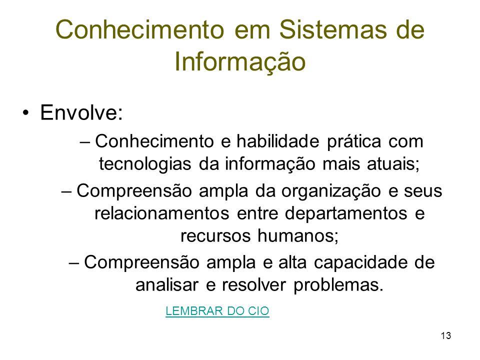 13 Conhecimento em Sistemas de Informação Envolve: –Conhecimento e habilidade prática com tecnologias da informação mais atuais; –Compreensão ampla da