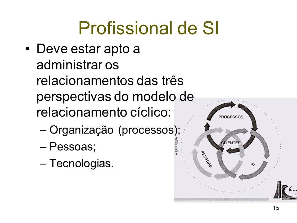 15 Deve estar apto a administrar os relacionamentos das três perspectivas do modelo de relacionamento cíclico: –Organização (processos); –Pessoas; –Te