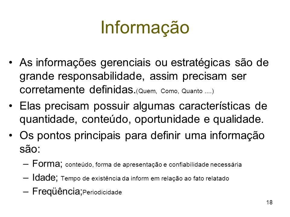 18 Informação As informações gerenciais ou estratégicas são de grande responsabilidade, assim precisam ser corretamente definidas. (Quem, Como, Quanto
