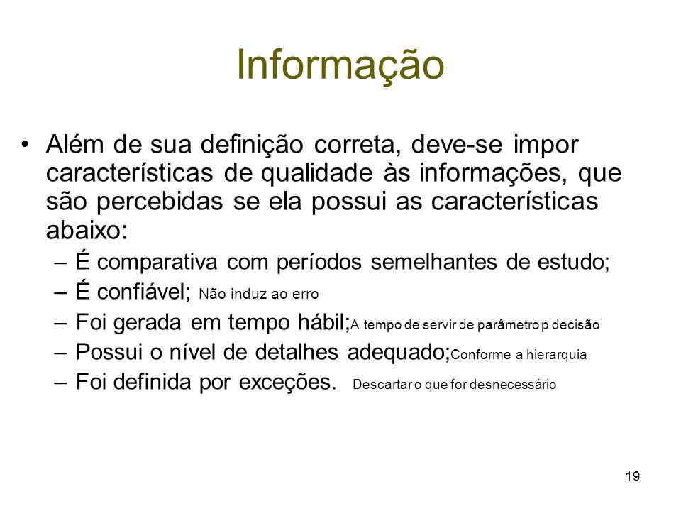 19 Informação Além de sua definição correta, deve-se impor características de qualidade às informações, que são percebidas se ela possui as caracterís