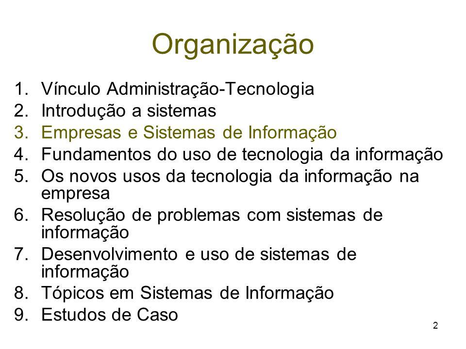 2 Organização 1.Vínculo Administração-Tecnologia 2.Introdução a sistemas 3.Empresas e Sistemas de Informação 4.Fundamentos do uso de tecnologia da inf