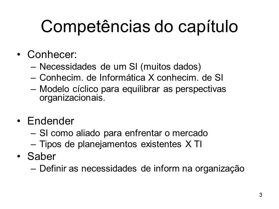 3 Competências do capítulo Conhecer: –Necessidades de um SI (muitos dados) –Conhecim. de Informática X conhecim. de SI –Modelo cíclico para equilibrar