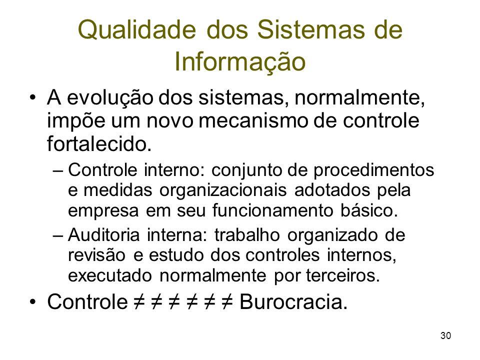 30 Qualidade dos Sistemas de Informação A evolução dos sistemas, normalmente, impõe um novo mecanismo de controle fortalecido. –Controle interno: conj