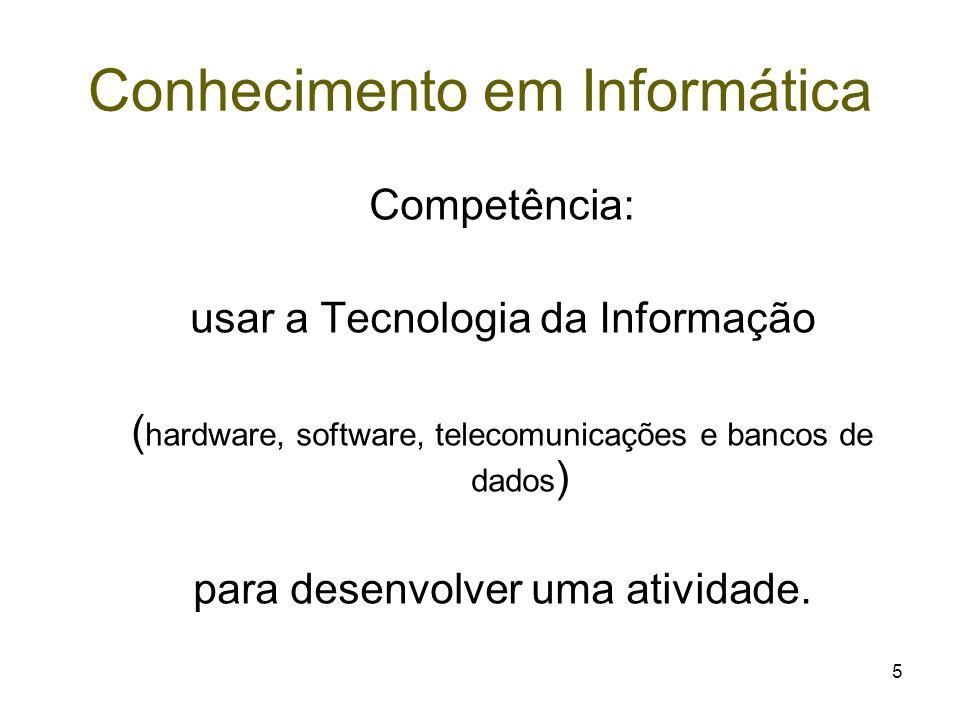 5 Conhecimento em Informática Competência: usar a Tecnologia da Informação ( hardware, software, telecomunicações e bancos de dados ) para desenvolver
