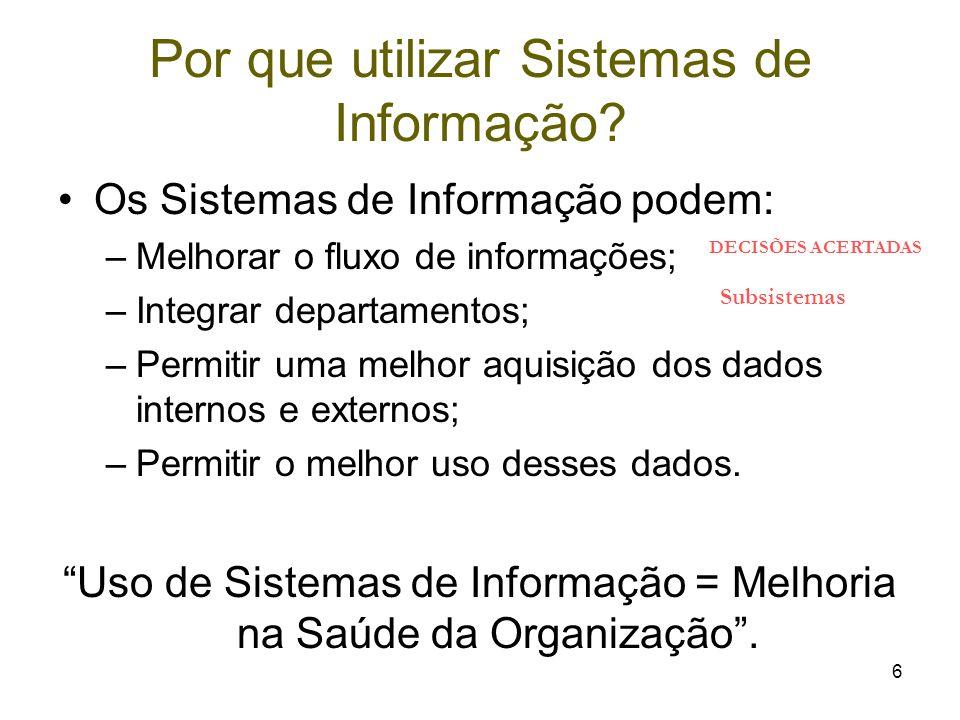 6 Por que utilizar Sistemas de Informação? Os Sistemas de Informação podem: –Melhorar o fluxo de informações; –Integrar departamentos; –Permitir uma m