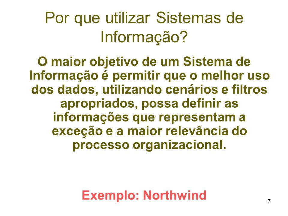 7 Por que utilizar Sistemas de Informação? O maior objetivo de um Sistema de Informação é permitir que o melhor uso dos dados, utilizando cenários e f